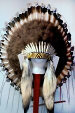 Native American Antiqued Desert Plains War Bonnet Feather Headdress