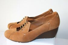CLARKS ACTIVE AIR LADIES CASUAL TAN NUBUCK LEATHER SHOES WEDGE HEEL SIZE 5 D