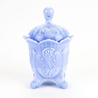 Northwood Auburn Opaque Blue Slag Covered Sugar, Antique Inverted Fan & Feather