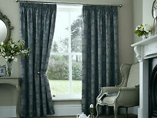 "PALERMO FLORAL 66"" x 72"" TEAL PENCIL PLEAT FULLY LINED READY MADE CURTAINS"
