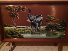 """VINTAGE FIRE SCREEN ART AFRICAN 3 D HANDPAINTED LARGE PURE COPPER 20 X 34"""""""