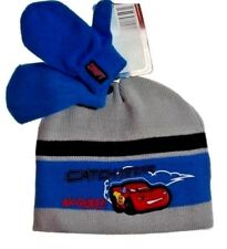Disney Boy's Toddler Cars Beanie Hat Mittens Cold Weather Set Blue  1 size