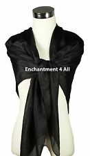 "New Extra Large Square 42""x42"" Luxurious 100% Pure Silk Scarf Shawl Wrap, Black"