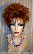 Drag Queen Wig Short and Sassy Amanda in Auburn Red Teased Out
