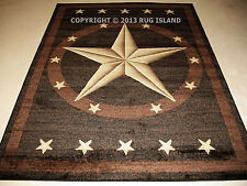 "2x8 (2'3"" x 7'7"") Texas Lone Star Cowboy  Western Brown Black Runner Area Rug"