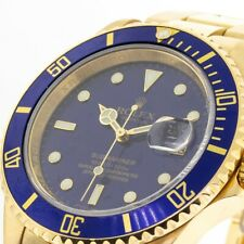 ROLEX 18K YELLOW GOLD SUBMARINER 40MM BLUE DIAL ALL GOLD BLUE SUB 16618