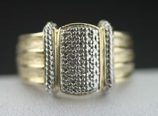 WONDERFUL CHINESE EXPORT TWO TONE STERLING SILVER DIAMOND MEN'S RING SIZE 9.5