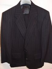 Mens FOREMAN & CLARK Black Pinstripe Wool SUIT Size 40S Pants Flat Cuff 32x25