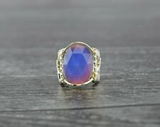 Sterling Silver Faceted Mirage Mood Color Change Cabochon Wire Wrapped Ring