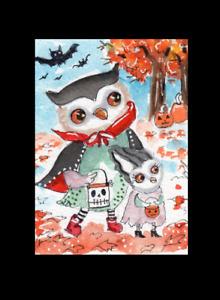 ACEO OWL Dracula Trick or Treat Halloween Original  Whimsical  Watercolor art