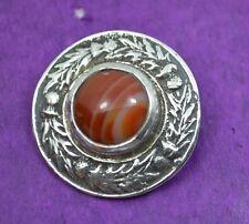 super vintage Scottish Iona silver brooch agate stone R Allison Edinburgh 1961