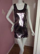 Internacionale Black Grey Silver Pewter Sequin Sparkly Party Clubbing Dress 8 BN