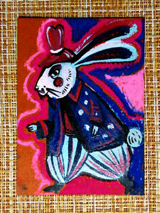ACEO original pastel painting outsider folk art brut #010411 surreal rabbit