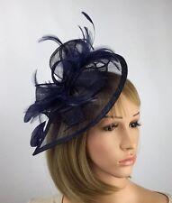 Dark Navy Blue Sinamay Fascinator Hatinator Wedding Occasion Ascot Races Bride