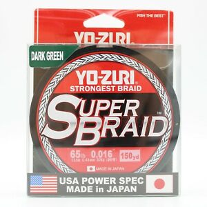 Yo-Zuri Superbraid Dark Green 65 lb Test 150 yd Fishing Line R1262-DG