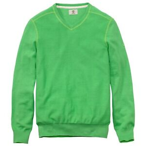 Timberland Men's Long Sleeve V-Neck Green Sweater 6641J Size SMALL
