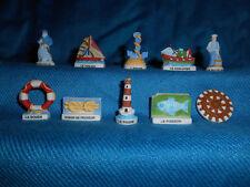 FISHING Boats TRAWLING Nets MARINE Set 10 Mini Figurines FRENCH Porcelain FEVES