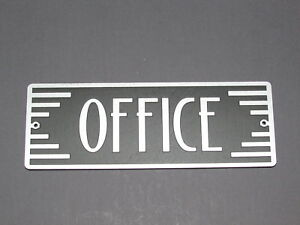 Art Deco Style OFFICE Door plaque Silver and Black Wood sign