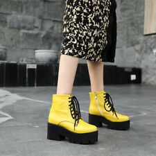 Womens Fashion Patent Leather Block Heels Lace Up Casual Ankle Boots Shoes