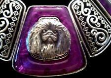 Pekingese Purple Squares Necklace~Statement Piece~Dog jewelry~Pekinese peke