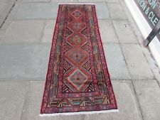 More details for vintage traditional hand made oriental red pink blue wool short runner 202x78cm