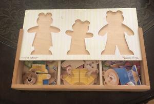 Melissa & Doug Mix 'n Match Wooden Bear Family Dress-Up Puzzle and Case 40+ Pcs