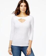 GUESS Three Quarter Sleeve Cutout Top True White XL