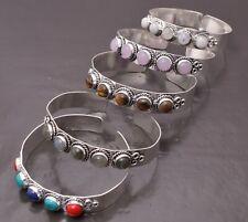 Rose Quartz Labradorite & More 925 Silver Plated 5pcs Lots Cuff Bangle Bracelets