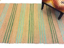 Natural Fibre Jute with Duck Egg Blue Eco Friendly Braided Area Rugs Hall Runner
