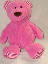 "Animal Adventure Plush Teddy Bear Pink Corduroy Chenille Stripe 16"" 2014"
