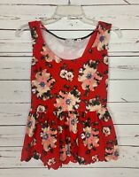 Postmark Anthropologie Women's S Small Red Floral Sleeveless Spring Summer Top
