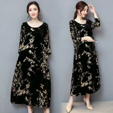 Women  Chinese Retro Vintage Velvet Floral Dress Long Loose Pleuche Long Sleeve