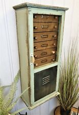 Vintage Industrial chic wall storage shelving drawer unit wood glazed cupboard