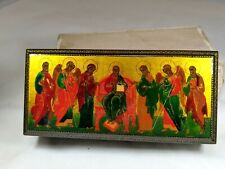 """Vintage Palekh """"Saved with The Saints"""" Rectangular Russian Lacquer Miniature"""