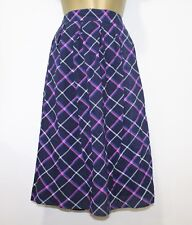 New Pleated Check Skirt 18 Blue Pirple Multi Print Lined 50s Rockabilly