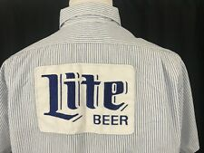 Vintage Miller Lite Beer delivery uniform shirt M/L striped Patches Made in Usa