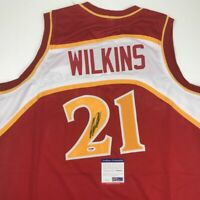 Autographed/Signed DOMINIQUE WILKINS Atlanta Red Basketball Jersey PSA/DNA COA