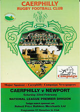 Caerphilly v Newport 22 Feb 1997 RUGBY PROGRAMME