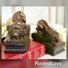 Lion Book Ends Resin Pair / Regal Resting Lion Statues / Paperweights / Decor
