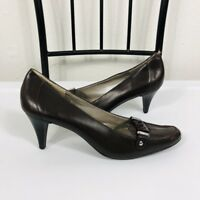 Talbots Size 9 B Heels Pumps Brown Leather Work Career Event