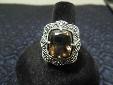 Victorian Style Sterling Silver Marcasite and Floating Smoky Quartz Ring Size 9