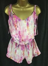 684029596613 Lipsy Playsuit Sz 10 Pink Sexy Watercolor Shorts Sheer Bikini Cover Holiday  NWT