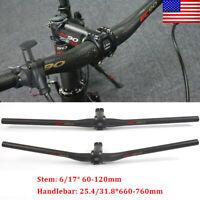 EC90 Bicycle Handlebar MTB Bike 25.4/31.8*660-760mm Stem 6/17° 60-120mm Matte