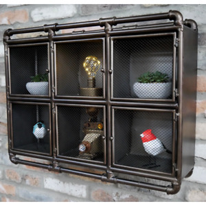 Industrial Style Metal Wall Display Cabinet Retro Display Cupboard Storage Unit