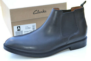 Clarks BNIB Mens Chelsea Boots CHILVER TOP Black Leather UK 11 / 46
