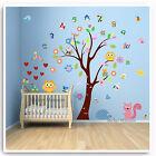 Owl Wall Stickers Animal Numbers Jungle Zoo Nursery Baby Kids Bedroom Decal Art