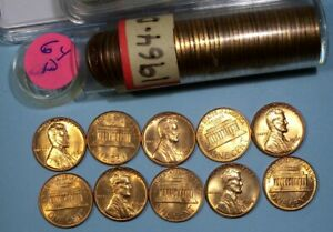 1964-D ORIGINAL ROLL CENTS FIREY RED COINS RED EDGES #56-2