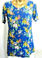 Linea Louis Dell'Olio Blue Floral Sh/Sl Knit Tunic Top XL NWOT A290933