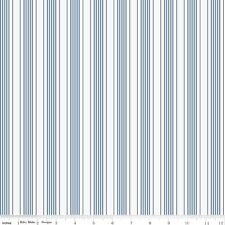 by The Sea Blue & White Stripe Riley Blake Fabric FQ or More 100 Cotton Craft