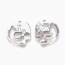 4 Skull Charms Pendants 28mm x 24mm Silver Tone